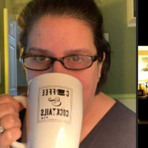 Cherl drinking coffee on a video conference