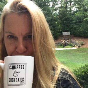Paula having coffee outdoors